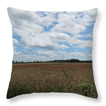 Throw Pillow featuring the photograph Last Of The Poppies by Pema Hou