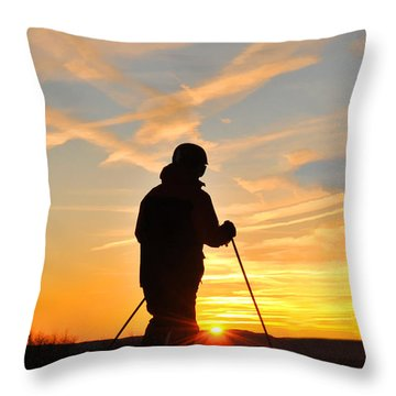 Last Run At End Of Day Throw Pillow by Dan Friend