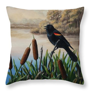 Red Winged Blackbird Throw Pillows