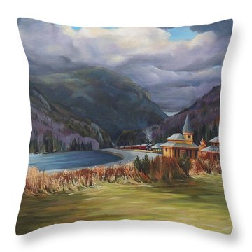 Last Train To Crawford Notch Depot Throw Pillow by Nancy Griswold