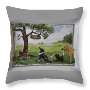 Last Tree Dogs Waiting In Line Throw Pillow