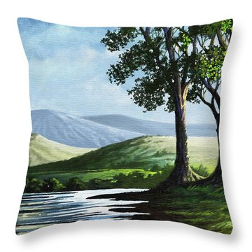 Throw Pillow featuring the painting Late Afternoon by Anthony Mwangi