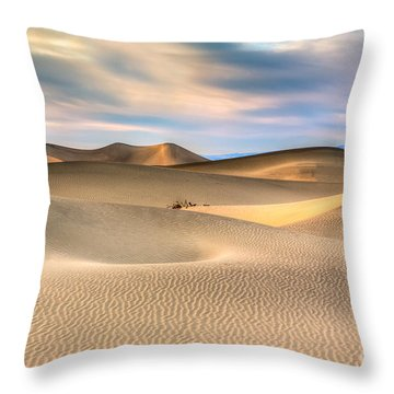 Late Afternoon At The Mesquite Dunes Throw Pillow