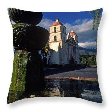 Late Afternoon At The Santa Barbara Mission Throw Pillow