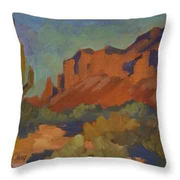 Late Afternoon Light At Superstition Mountain Throw Pillow