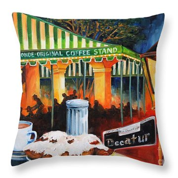 Late At Cafe Du Monde Throw Pillow by Diane Millsap