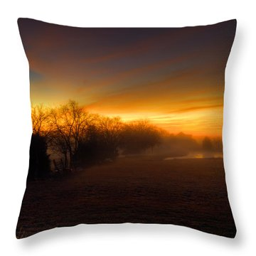 Late Autumn Sunrise Throw Pillow