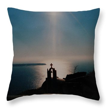 Late Evening Meditation On Santorini Island Greece Throw Pillow