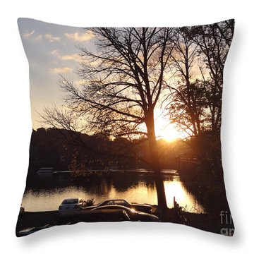 Late Fall At The Station Throw Pillow