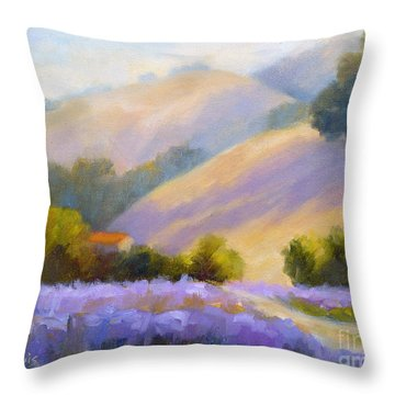 Late June Hills And Lavender Throw Pillow