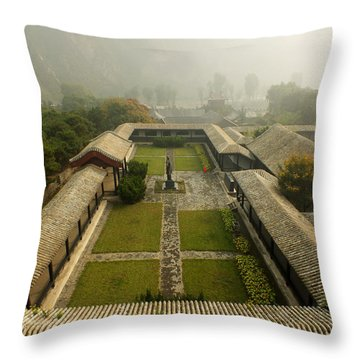 Throw Pillow featuring the photograph Late Morning Fog At The Great Wall  by Lucinda Walter