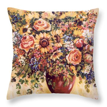 Late Summer Bouquet Throw Pillow