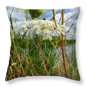 Throw Pillow featuring the photograph Late Summer By The Pond by Scott Kingery