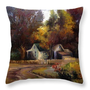 Throw Pillow featuring the painting Late Summer by Mikhail Savchenko