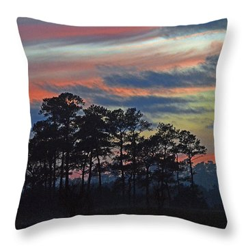 Throw Pillow featuring the photograph Late Sunset Trees In The Mist by Bill Swartwout