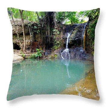 Latille Waterfall And Garden - St. Lucia Throw Pillow