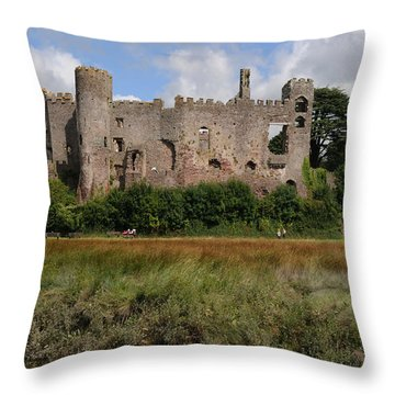 Laugharne Castle Throw Pillow by Jeremy Voisey