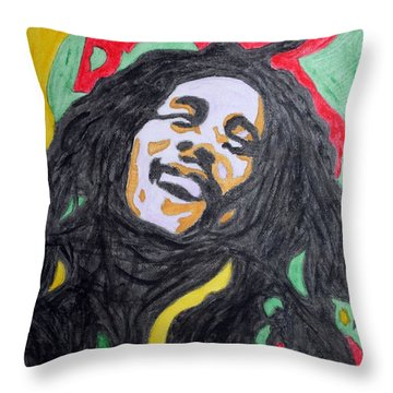 Throw Pillow featuring the painting Happy Bob Marley  by Stormm Bradshaw