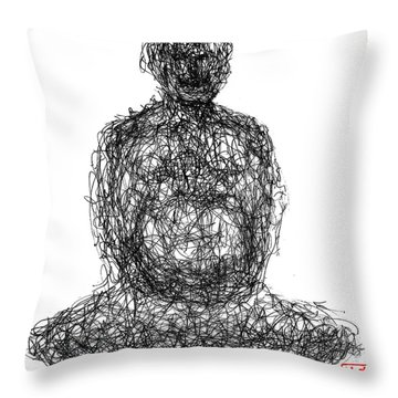 Laughing Buddha Throw Pillow by Peter Cutler