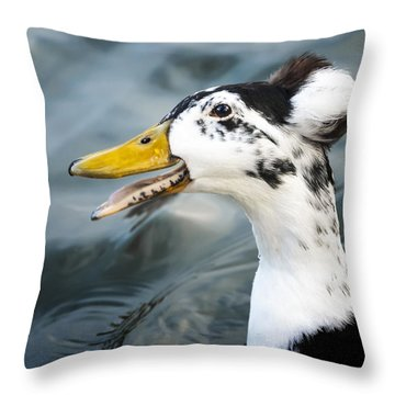 Laughing  Duck Throw Pillow by Caitlyn  Grasso