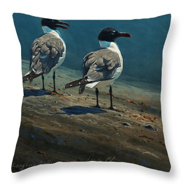 Laughing Gulls Throw Pillow