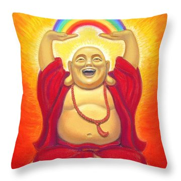 Laughing Rainbow Buddha Throw Pillow