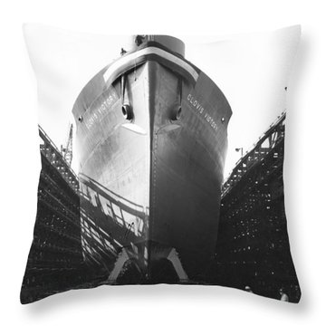 Launching Of Wwii Victory Ship Throw Pillow