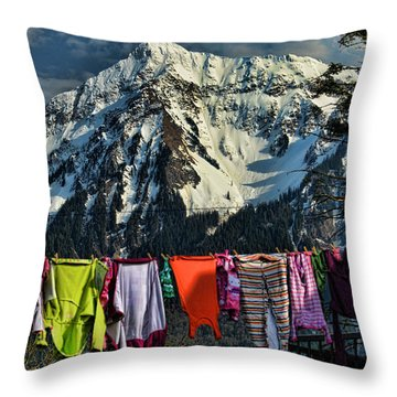Laundry Day By Mount Cheam Throw Pillow by Lawrence Christopher