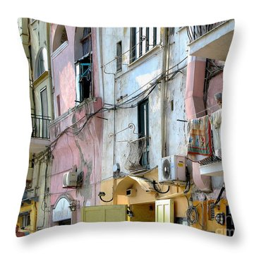 Laundry Day In Procida Throw Pillow by Jennie Breeze