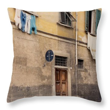 Laundry Day In Verona Throw Pillow by Suzanne Gaff