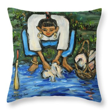 Throw Pillow featuring the painting Laundry Girl by Xueling Zou