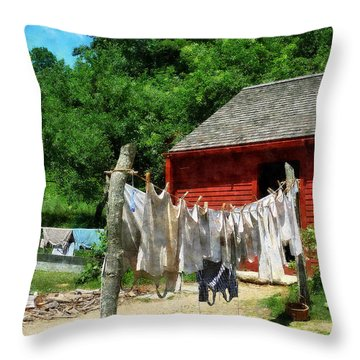 Laundry Hanging On Line Throw Pillow