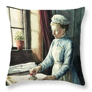 Laundry Maid Throw Pillow by English School
