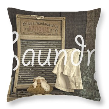 Laundry Room Sign Throw Pillow by Edward Fielding