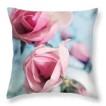 Throw Pillow featuring the photograph Laura Ashley Inspired Springtime Magnolias On Blue Sky by Lisa Knechtel