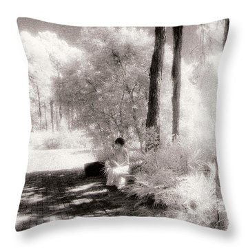 Laura Reading In The Park Throw Pillow