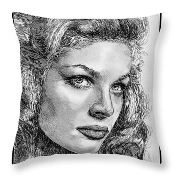 Lauren Bacall Throw Pillow by J McCombie