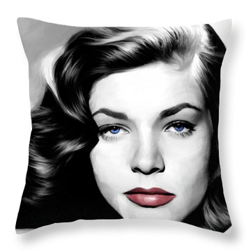 Lauren Bacall Large Size Portrait Throw Pillow