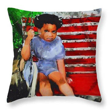 Throw Pillow featuring the painting Lauren On The Swing by Vannetta Ferguson