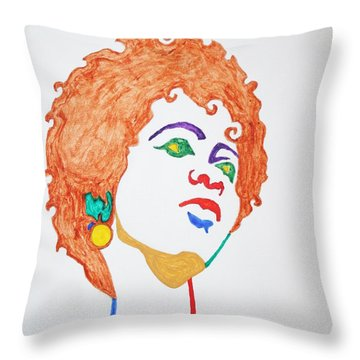 Throw Pillow featuring the painting Lauryn Hill  by Stormm Bradshaw