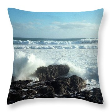 Throw Pillow featuring the photograph Lava Beach Rocks On 90 Mile Beach by Mark Dodd