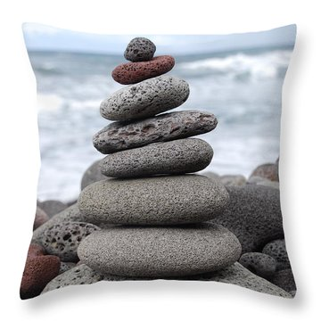 Throw Pillow featuring the photograph Lava Cairn by Jani Freimann