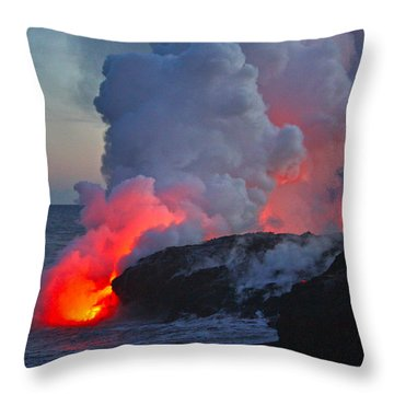 Lava Flow At Sunset In Kalapana Throw Pillow