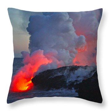 Lava Flow At Sunset In Kalapana Throw Pillow