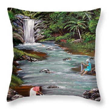 Lavando Ropa Throw Pillow by Luis F Rodriguez
