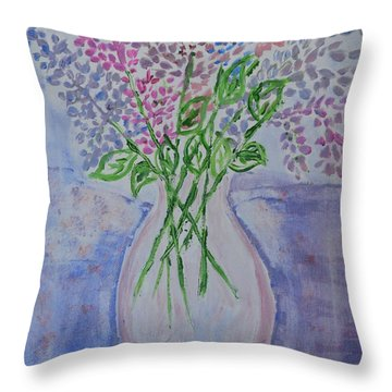 Lavendar  Flowers Throw Pillow