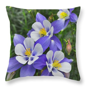 Throw Pillow featuring the digital art Lavender And White Star Flowers by Mae Wertz