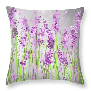 Lavender Blossoms - Lavender Field Painting Throw Pillow