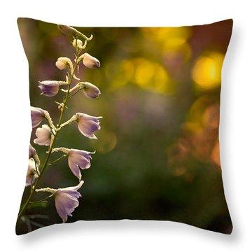Lavender Delphinium Throw Pillow by Bonnie Bruno