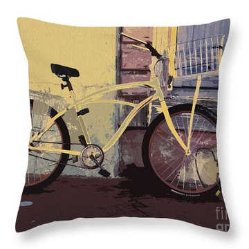 Lavender Door And Yellow Bike Throw Pillow